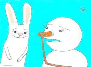 """Oops!"" Clover the rabbit accidentally eats the snowgirl's nose."